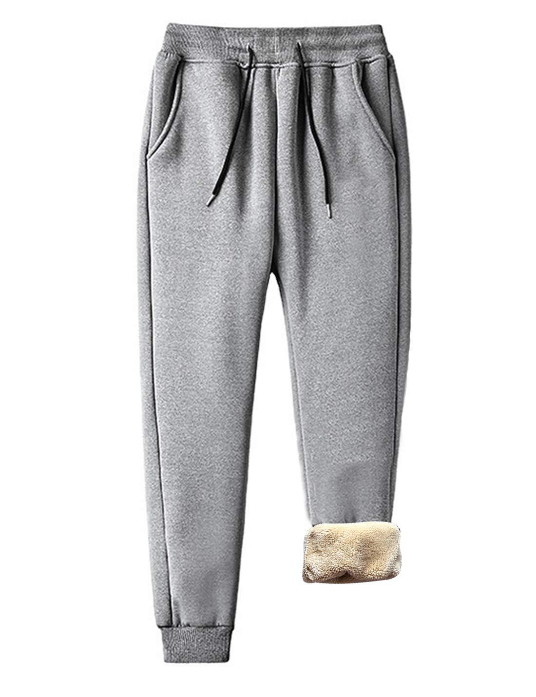 Omoone Men's Casual Drawstring Waist Fleece Lined Cuffed Jogger Sweatpants