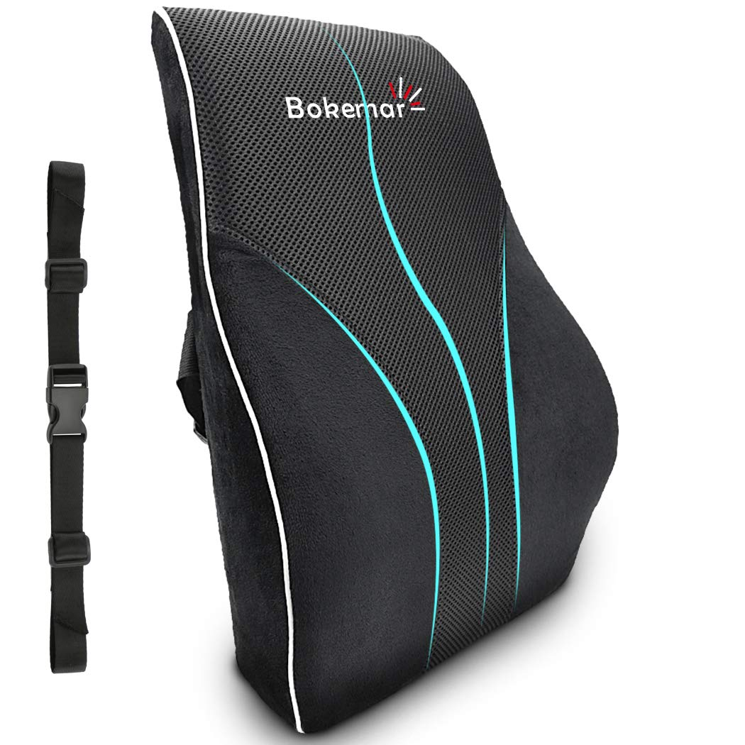Lumbar Support for Office Chair, Memory FoamLumbar Support Pillow Back Cushion - Back Support Pillow with Adjustable Straps for Car, Office Chair and Wheelchair