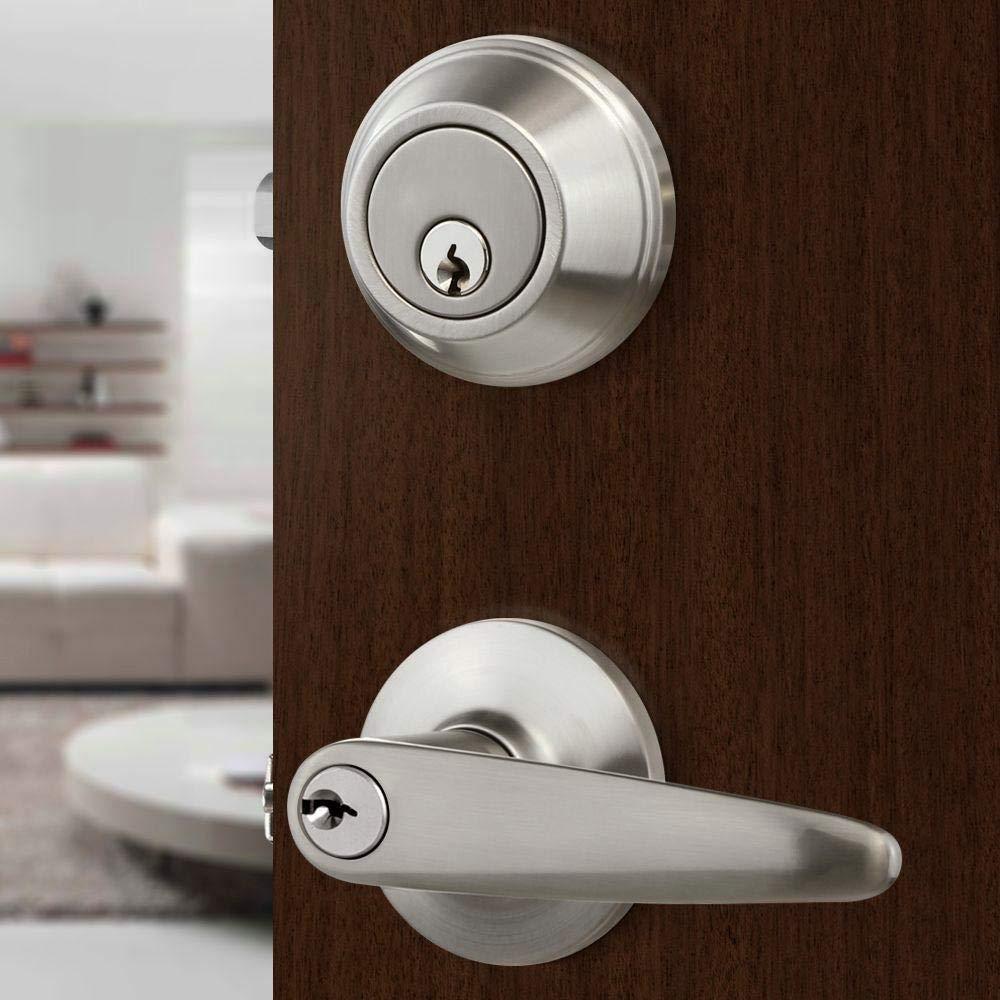 Front Door Entry Lever Lock Set and Single Cylinder Deadbolt Keyed Alike Combination Set, Satin Nickel