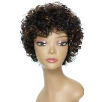 Black Mix Medium Brown Highlights Human Hair Wigs for Middle Aged Women, Brazilian Afro Short Deep Curly Wigs Real Wig for Black Women Machine Made Wigs