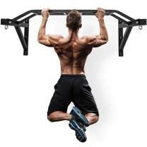 """Wall Mount Pull-Up Bar - 48"""" Multi-Grip Chin-Up Station with Hangers for Punching Bags, Power Ropes for Home Gym Strength Training Equipment"""
