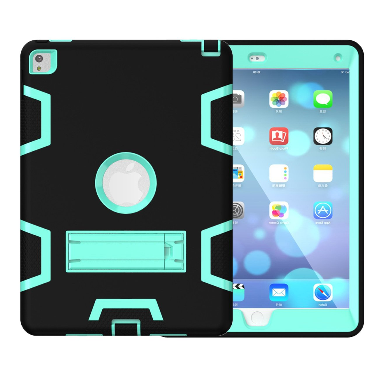 iPad Mini 4 Case,HEAVY DUTY Armor 3 in 1 Built-in Stand Rugged Cover Dust-Proof Shockproof Drop-Proof Scratch-resistant Anti-slip Cover Full Protective for Apple iPad Mini 4-Black/Mint Green