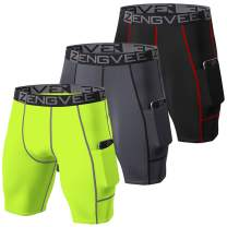 ZENGVEE Men's 3 Pack Compression Shorts with Pockets Athletic Baselayer Underwear for Running,Workout,Training