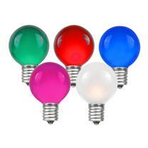 Novelty Lights 25 Pack G30 Outdoor Globe Replacement Bulbs, Multi, C7/E12 Candelabra Base, 5 Watt
