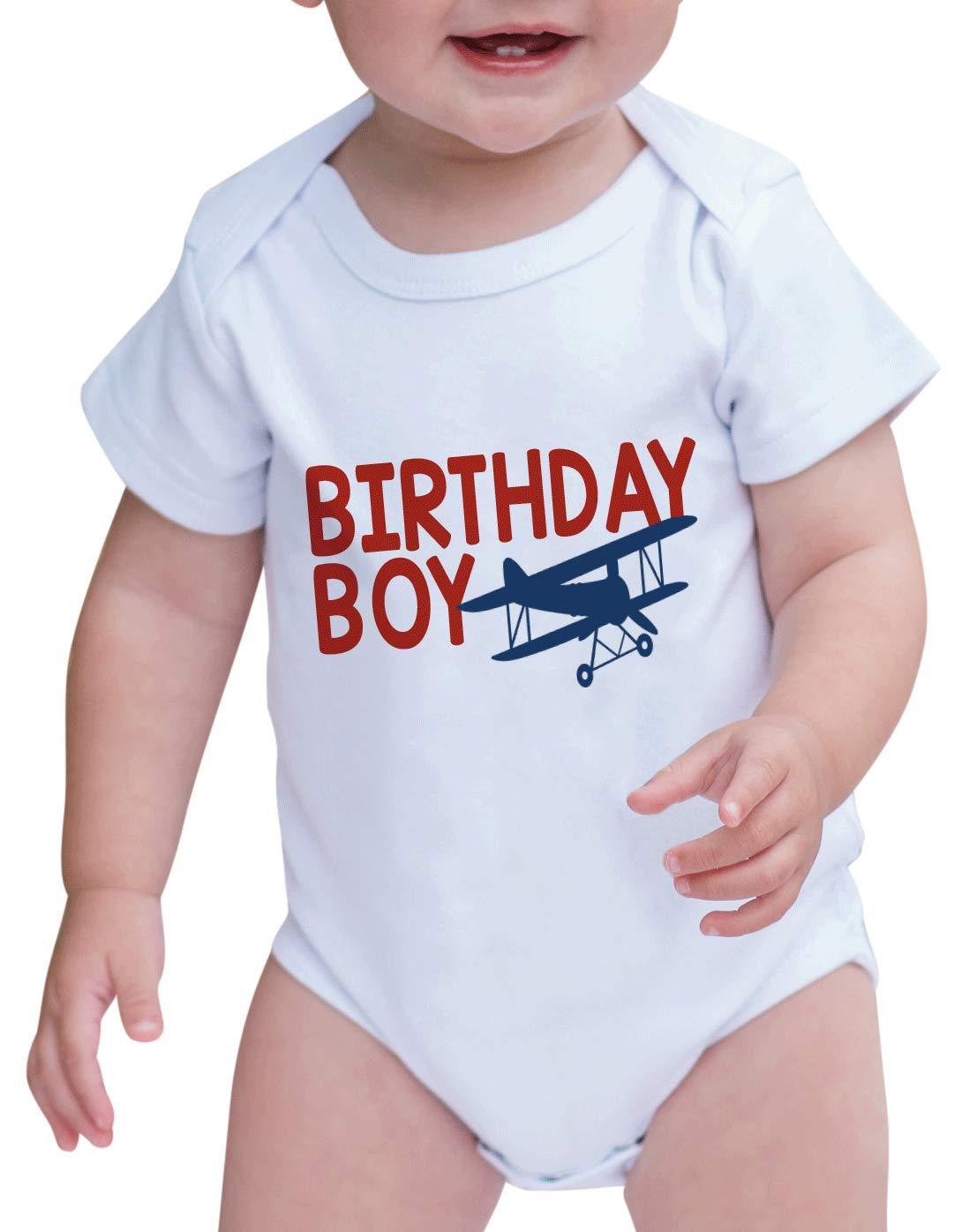7 ate 9 Apparel Boy's Birthday Boy Biplane Airplane Onepiece