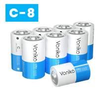 VONIKO Ultra Alkaline C Batteries,C Size Batteries 8 Pack –10-Year Shelf Life and 6-9 Times The Power asCarbon Batteries, C 1.5 Volt Battery