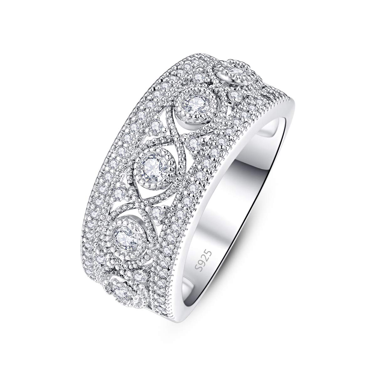 Momius 925 Sterling Silver Round Cut Cubic Zircon Pave Celtic Knot Band Ring for Girls Women