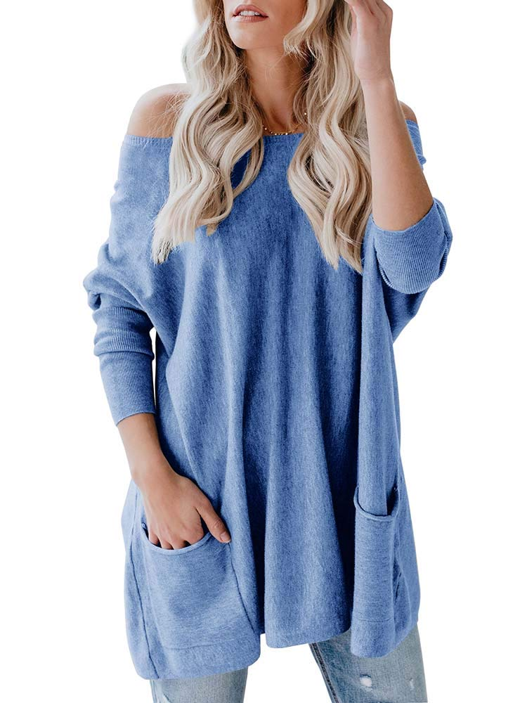 Yskkt Womens Plus Size Off The Shoulder Long Sweaters Batwing Sleeve Oversized Pullover Knit Jumper with Pockets