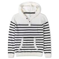 Benito & Benita Boys' Striped Hoodies Cotton Knit Pullover Sweaters Button Up with Pocket