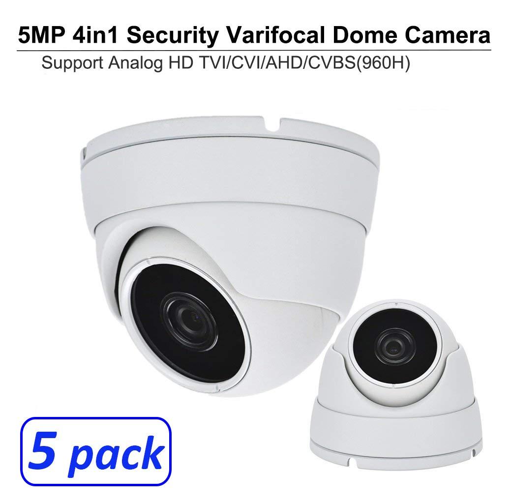 101AV 5 Megapixel 4in1 TVI/AHD/CVI/CVBS(960H) 2.8-12mm Lens Security Surveillance Dome Camera DWDR IR Cut OSD menu for Indoor Outdoor CCTV Home Office (White) (5 Pack)