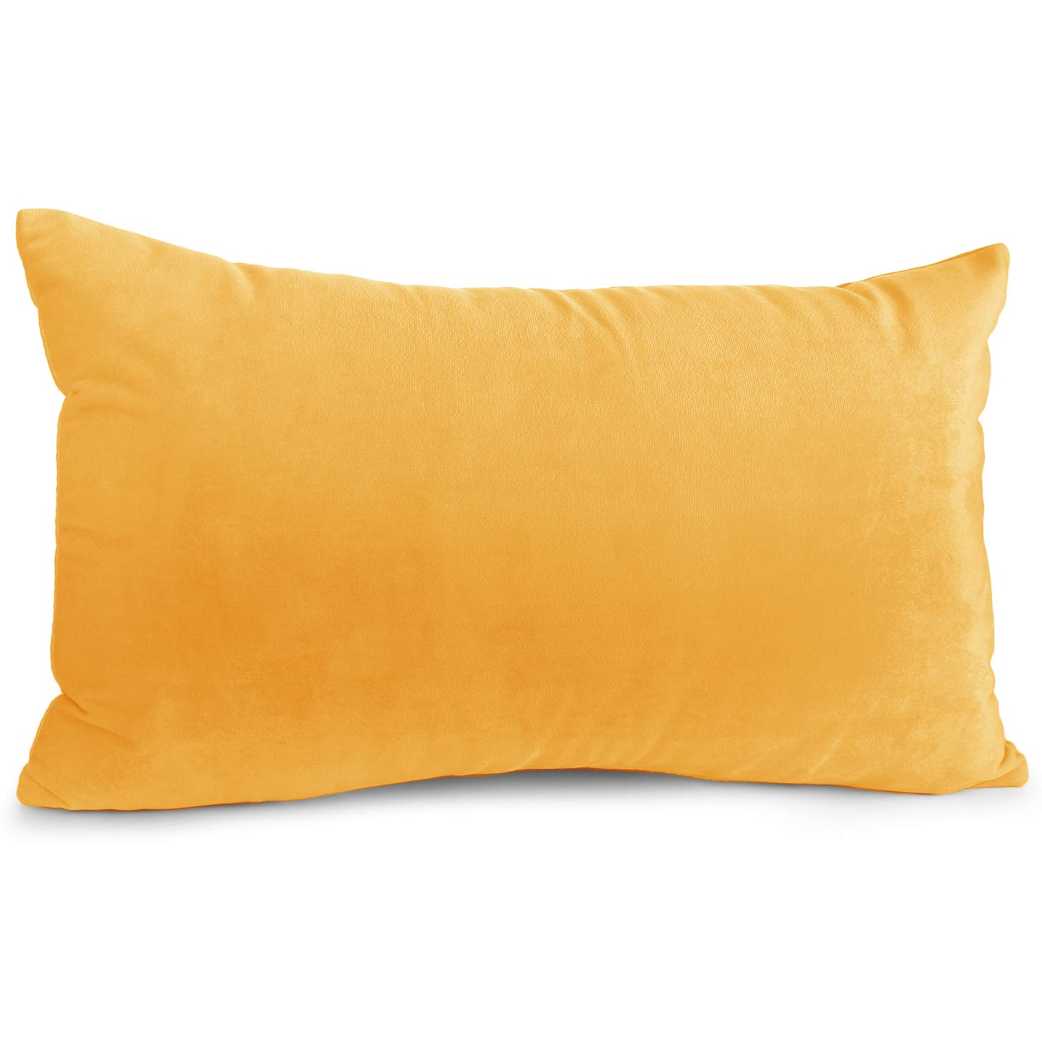 """Nestl Bedding Throw Pillow Cover 12"""" x 20"""" Soft Square Decorative Throw Pillow Covers Cozy Velvet Cushion Case for Sofa Couch Bedroom - Orange"""