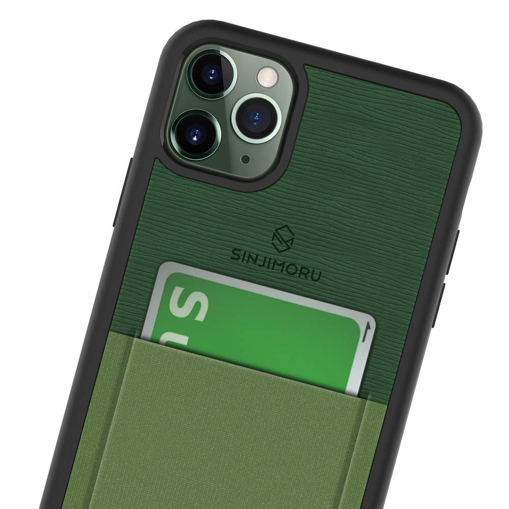 Sinjimoru iPhone 11 Pro Max Case with Slim Wallet, Protective TPU Phone Case with Credit Card Holder for Back of Phone. Sinji Pouch Case for iPhone 11 Pro Max, Green