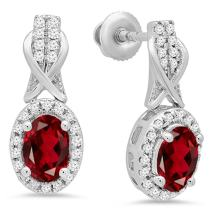 Dazzlingrock Collection 10K Ladies Halo Style Dangling Drop Earrings, White Gold