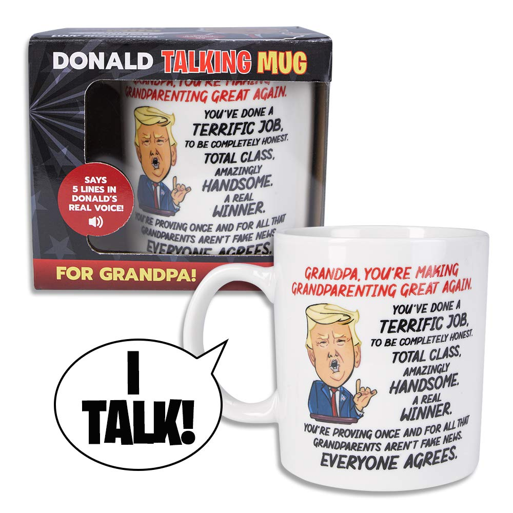 Donald Trump Talking Coffee Mug FOR GRANDPA - Simply Lift Mug & Hear POTUS Give a Personal Greeting to Your Grandfather – Says 5 Lines - Trump's REAL VOICE – Fun Trump Gift - Funny Coffee Mugs for Men