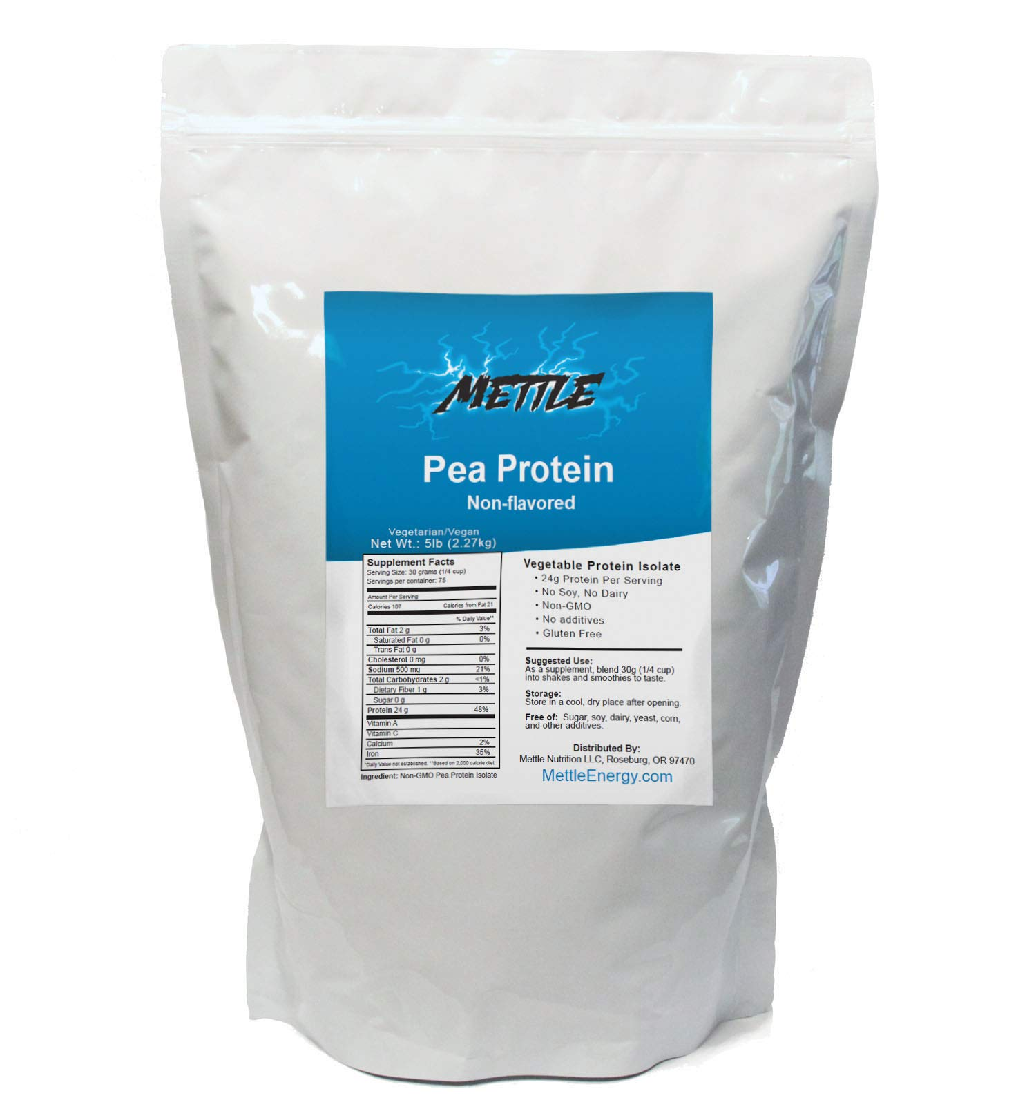 Pea Protein Powder - 5 Pound - Bulk Pure Supplement (Unflavored) – Mettle Pea Protein Isolate