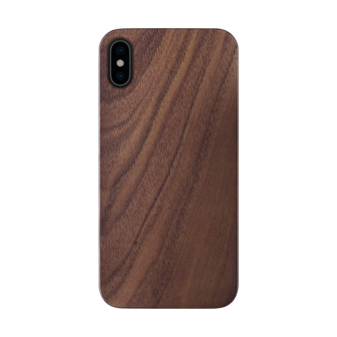 iATO iPhone X Wooden Case - Real Walnut Wood Grain Premium Protective Slim Back Cover. Unique & Classy Snap on Bumper Accessory for iPhone X /10 (2017)   Supports Wireless Charging