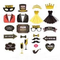 Prom Photo Booth Props High School Prom Night Party Junior Prom Decoration 23 pcs Easy Joy (Black Gold - PROM)