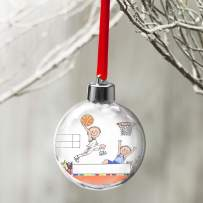 PrintedPerfection.com Personalized Friendly Folks Cartoon Globe Christmas Ornament: Basketball Player - Male