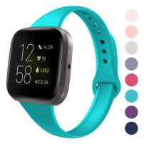 DYKEISS Sport Slim Silicone Band Compatible with Fitbit Versa/Versa Lite Edition, Thin Soft Narrow Silicone Replacement Strap Wristband Accessory for Fitbit Versa Smart Watch (Small, Teal)