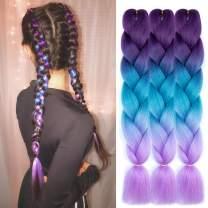 AQINBEL Braiding Hair for Women 24 Inch 3PCS/Lot Ombre Jumbo Braiding Hair Extension Kanekalon High Temperature Jumbo Braids for Twist Crochet Braiding Hair(Purple to Lake Blue to Light Purple)