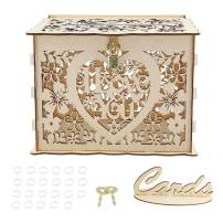 Wedding Card Box with Lock, Simple Hollow Out Gift Card Box Easy Installation Versatile Wooden Gift Box for Weddings, Birthdays, Graduations
