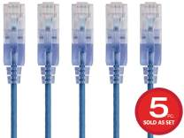 Monoprice 133198  Cat6A Ethernet Network Patch Cable - 25 Feet - Blue | 5-Pack, 10G - SlimRun Series