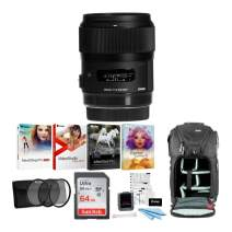 Sigma 35mm f/1.4 DG HSM Art Lens for Sony E with 64GB SD Card and Corel Software Advanced Travel Kit