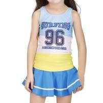 Karrack Girls Tow Piece Rash Guard Swimsuit Kid Water Sport Short Swimsuit UPF 50+ Sun Protection Bathing Suits