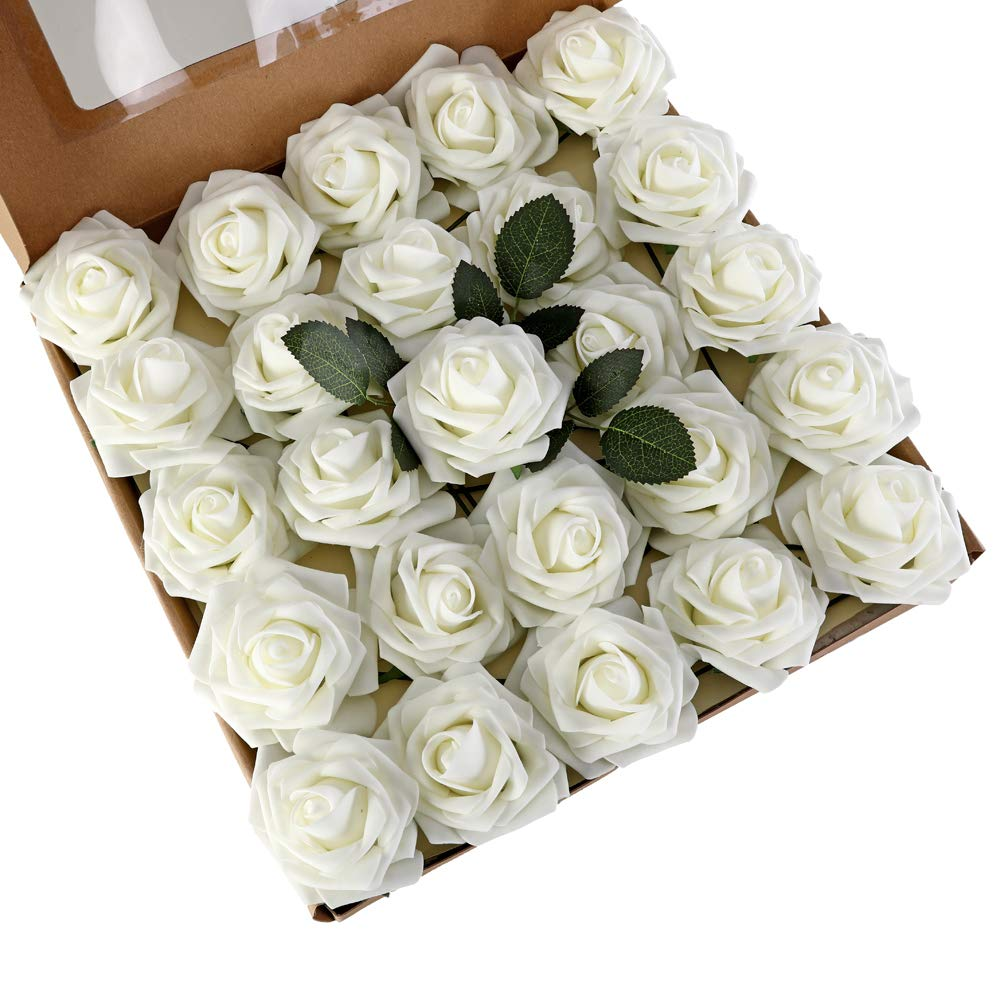 LUSHIDI Artificial Roses Flowers 25pcs Beige Real Looking Fake Roses w/Stem for DIY Wedding Bouquets Centerpieces Baby Shower Party Home Decor