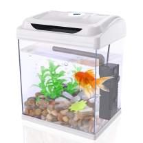 DADYPET Betta Fish Tank Aquarium Starter Kits 1 Gallon with LED Lighting, Plants, Pebbles, Pump