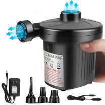 Electric Air Pump for Inflatables, 2 in 1 Portable Quick-Fill Air Pump,110V AC & 12V DC Inflator Deflator for Air Mattress, Swimming Rings, Airbeds, Water Toys, with 3Nozzles