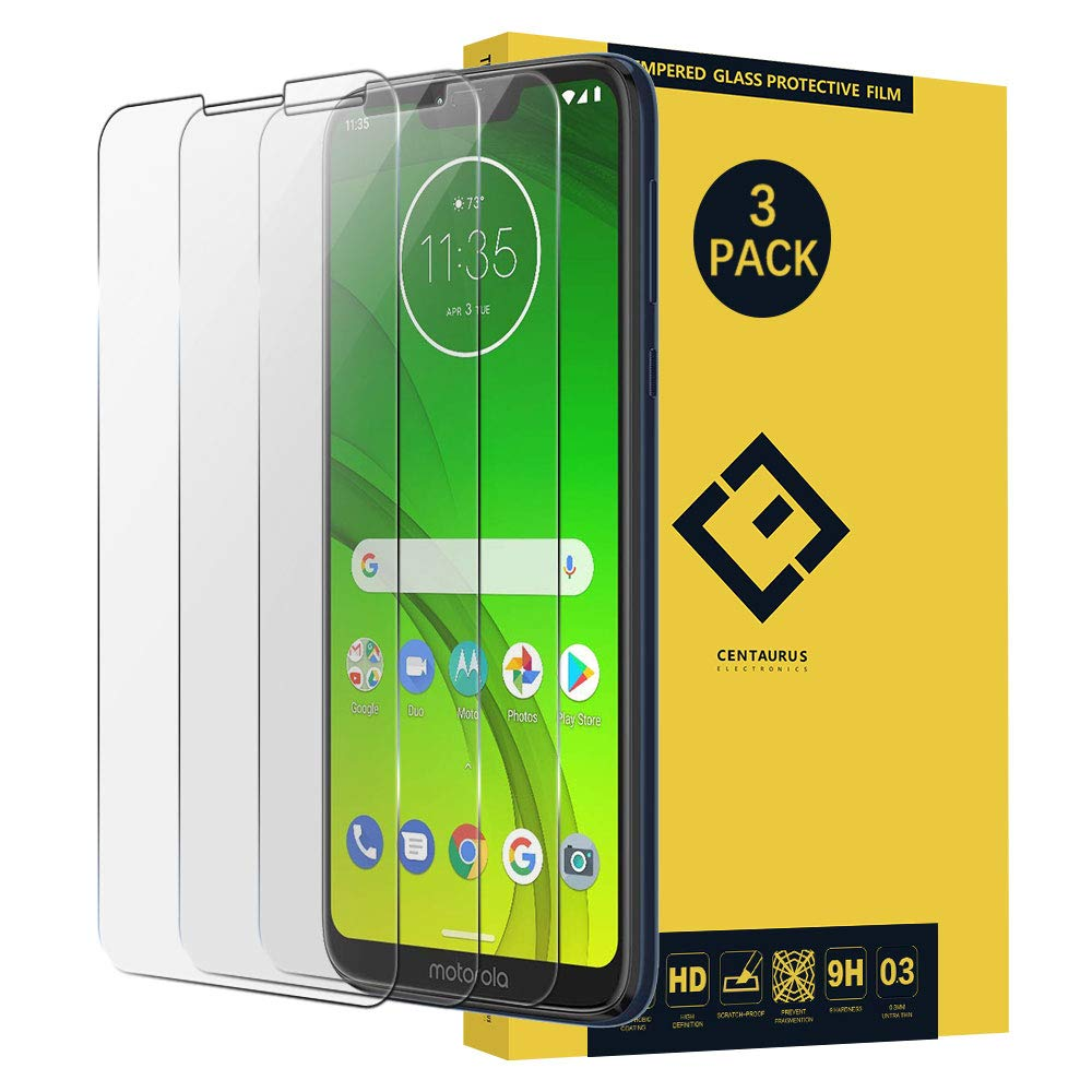 Moto G7 Power Screen Protector-(3 Pack) Bubble Free Case Friendly Ultra-Thin Anti-Scratch Anti-Fingerprint Clear Tempered Glass Protective Film Compatible with Motorola Moto G7 Power XT1955 6.2 inch