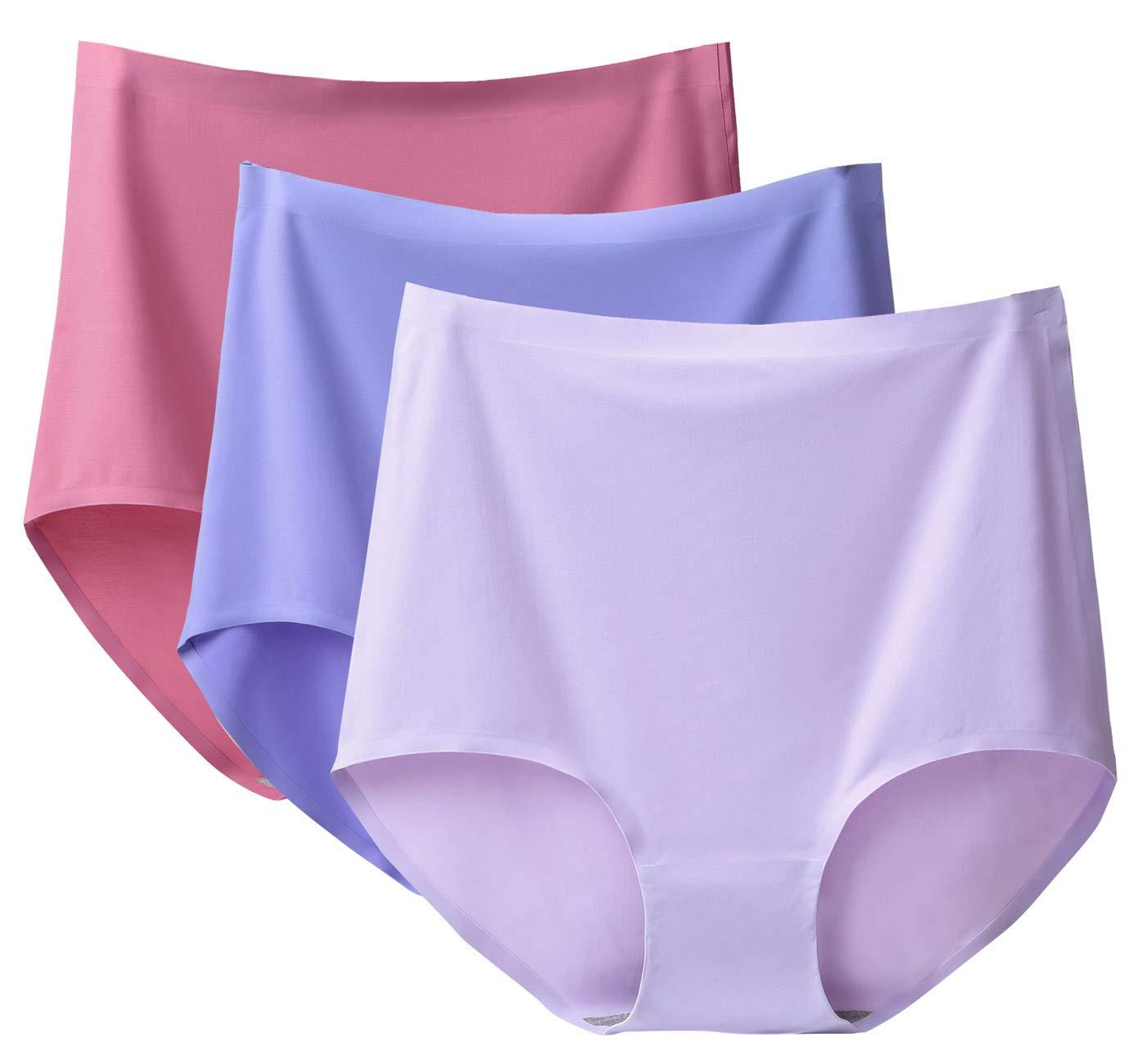 FEOYA Women High Waist Plus Size Panties No Show Full Coverage Underwear Briefs