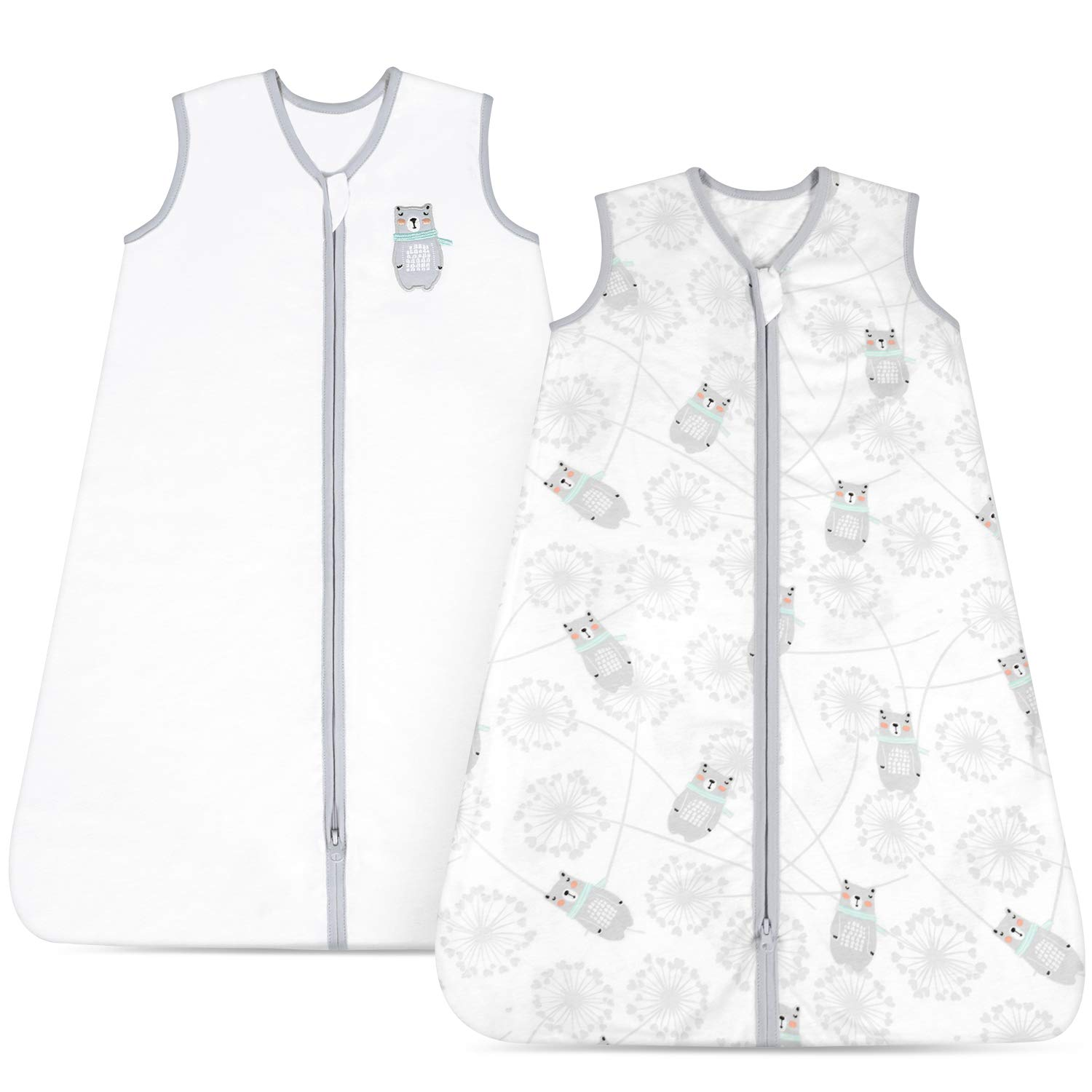 TILLYOU X-Large XL Breathable Cotton Baby Wearable Blanket with 2-Way Zipper, Super Soft Lightweight 2-Pack Sleeveless Sleep Bag Sack Unisex, Fits Infants Newborns Age 18-24 Months, Gray Bear & White