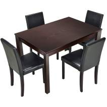 """Furgle 5 Piece Furniture Kitchen Dining Table Set with Oak Wood Dining Room Table and Set of 4 Dining Chairs, Dining Set with 40"""" Solid Table and Upholstered Fabric Seat, Brown"""