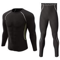 Thermal Underwear Set Winter Hunting Gear Sport Long Johns Base Layer Bottom Top Black XXL Style 2