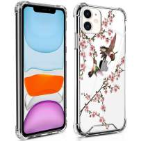 TAIPY iPhone 11 Case [6.1Inch] Hummingbird and Flower Crystal Clear Design PC+TPU Environmentally Friendly Blended Material Case with 4 Corners Shock Skid Proof Protection Cover