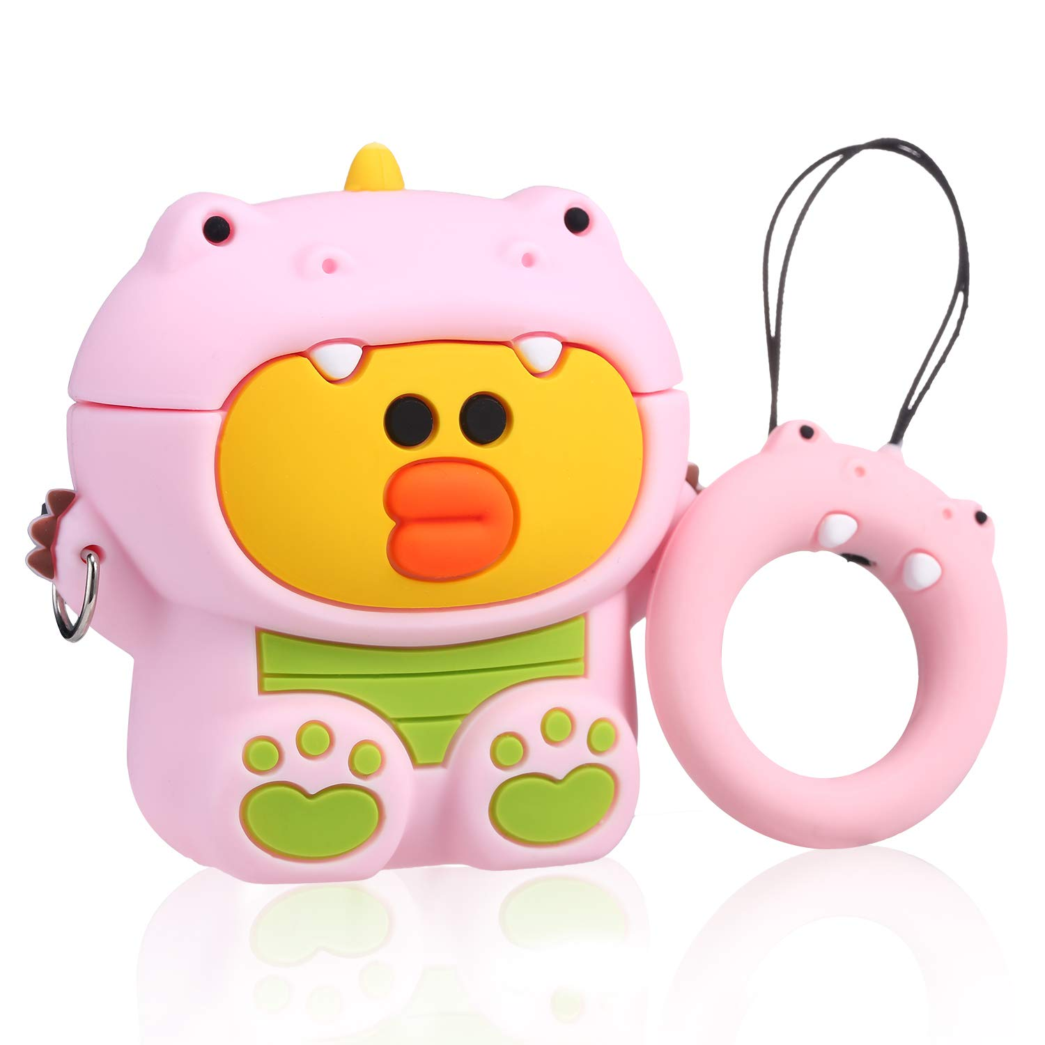 Joyleop Pink Dinosaur Duck Case Compatible with Airpods 1/2, Cute Cartoon Fun Funny 3D Animal Kids Girls Teens Cover, Kawaii Stylish Fashion Soft Silicone Character Airpod Skin Cases for Air pods 1&2