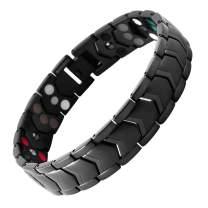 N+NITROLUBE Three Rows Magnetic Bracelet for Men Wide Link Stainless Steel Mens Bracelets Fashion Magnetic Jewelry Gift (Black, 8.26)