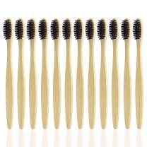Pack of 12, Natural Bamboo Toothbrushes, SourceTon Eco-Friendly Soft Bristles Charcoal Bamboo Toothbrush
