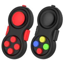 ATiC Fidget Controller Pad, [2 Pack] Stress Reducer Classic Game Pad Anti-Anxiety Focus Hand Shank Toy for ADD, ADHD, Autism Kids and Adults Killing Time, Colorful/Black + Red/Black