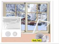 Adjustable TPU Window Insulation Kit, 47 x 78 Inch Durable TPU Window Insulator Kit with Full Frame Heavy Duty Fit Any Smaller Size Thermal Insulated Plastic Film Kit Transparent-Large