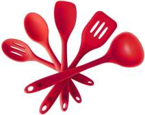 """StarPack Basics Silicone Kitchen Utensil Set (5 Piece Set, 10.5"""") - High Heat Resistant to 480°F, Hygienic One Piece DesignSpatulas, Serving and Mixing Spoons (Cherry Red)"""