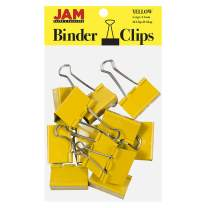 JAM PAPER Colorful Binder Clips - Large - 1 1/2 Inch (41 mm) - Yellow Binderclips - 12/Pack