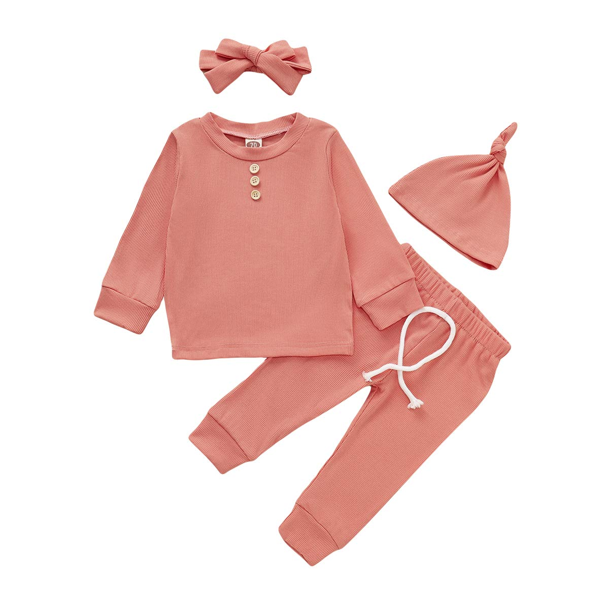 Baby Girl Clothes Ruffle Hoodie Tops Sweatsuit and Pants Solid Color Outfit 2Pcs Cotton Clothing Set