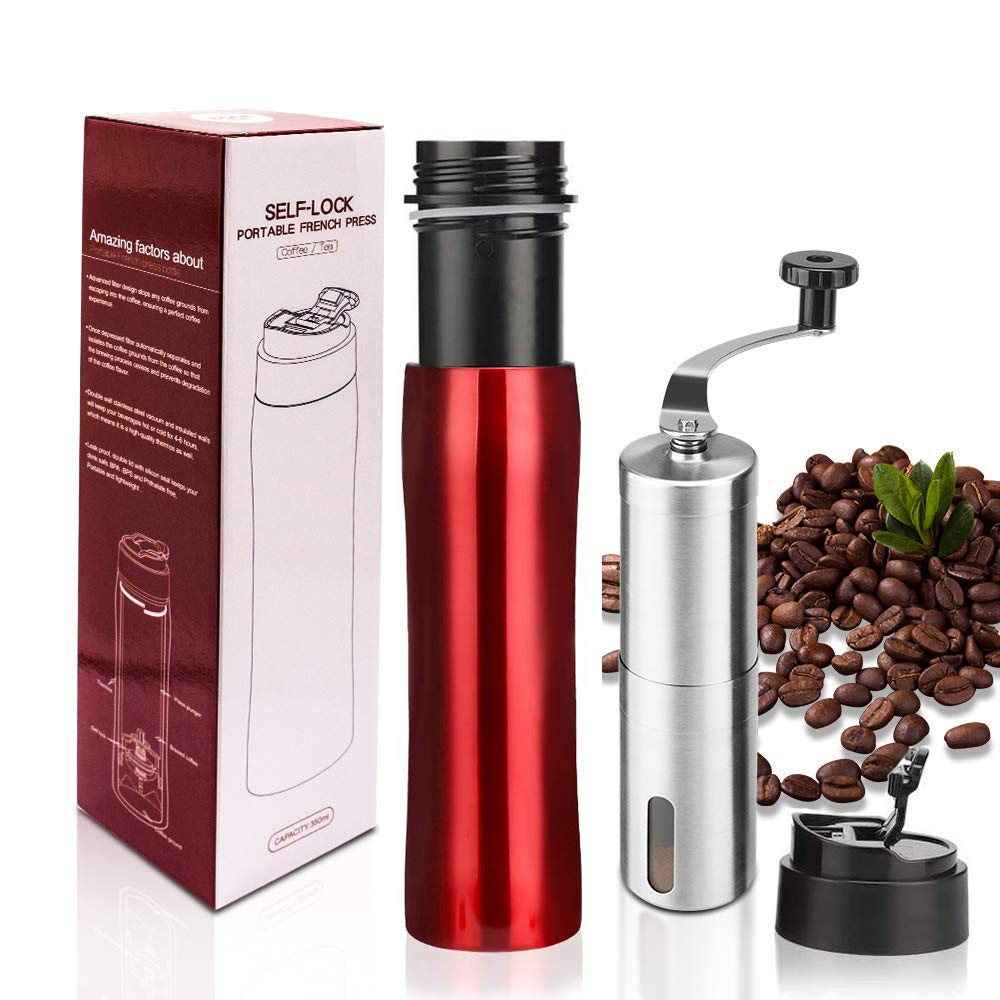i Cafilas The Original Portable French Press Coffee Maker | Premium Stainless Steel | Vacuum Insulated Travel Mug | Hot & Cold Brew (12 oz) Coffee Presses with Coffee Grinders