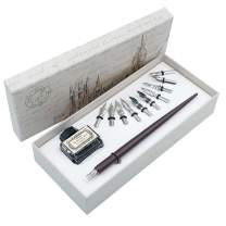 Wooden Dip Pen Gift Writing quill Handcrafted Calligraphy Set with Black Ink 11 nibs HO-Q-301