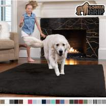 GORILLA GRIP Original Faux-Chinchilla Area Rug, 2.5x5 Feet, Super Soft and Cozy High Pile Washable Carpet, Modern Rugs for Floor, Luxury Shag Carpets for Home, Nursery, Bed and Living Room, Black