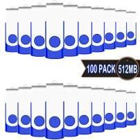 USB 512MB Flash Drive 100 Pack, EASTBULL USB 2.0 Swivel USB Stick Bulk Gig Stick Pen Memory Stick Metal Thumb Fold Storage (Blue)