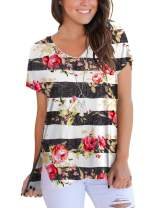 Woman Floral Shirts and Blouses Striped Summer Tops Casual Basic Tees for Teen Girls